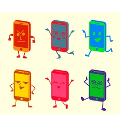 Happy Cute Kawaii Smartphone Characters vector