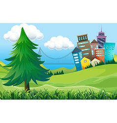 Hills with buildings vector