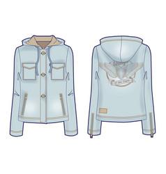 hooded light denim jacket for women vector image