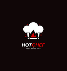 hot chef hat logo with red fire flame icon logo vector image