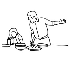 Husband and wife in quarrel in kitchen before vector