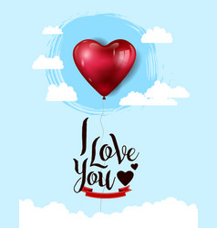 I love you design with big heart balloon red vector