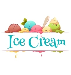 Ice cream banner with color drops vector