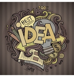 Idea hand lettering and doodles cartoon elements vector