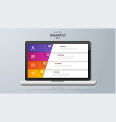 Infographic design on laptop screen 4 option vector