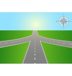 Intersection of highway with a compass vector