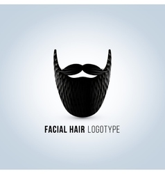 Isolated male face with mustache and beard vector