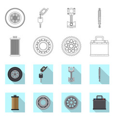 isolated object of auto and part symbol vector image