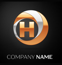 letter h logo symbol in the golden-silver circle vector image