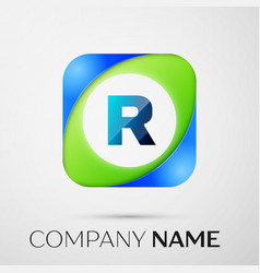 Letter r logo symbol in the colorful square vector