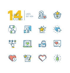 Likes - set of line design style icons vector