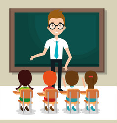 Man teacher with students in the classroom vector