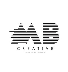 Mb m b zebra letter logo design with black and vector