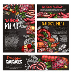 Meat sausage and spice herb blackboard banner vector