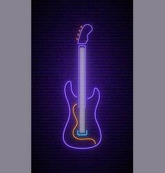 neon guitar sign light signboard glowing vector image