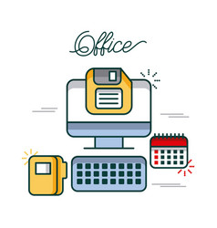 Office computer calendar folder file diskette work vector