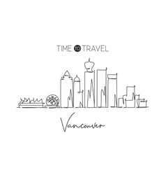 one single line drawing vancouver city skyline vector image