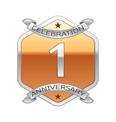 One years anniversary celebration silver logo with vector image