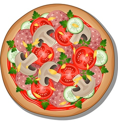 Pizza with toppings vector image