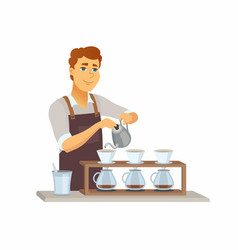pour over coffee - cartoon people characters vector image