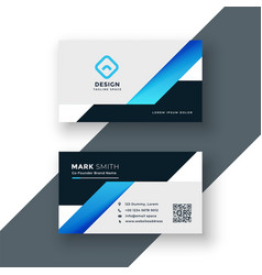 Professional blue business card geometric template vector