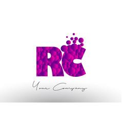 Rc r c dots letter logo with purple bubbles vector