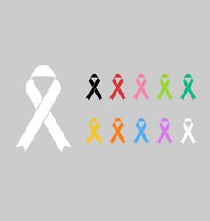 Realistic colorful awareness ribbons design vector