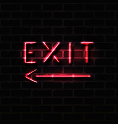 Realistic red exit neon sign vector