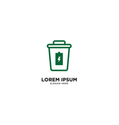 Recycle trash charger simple line logo template vector