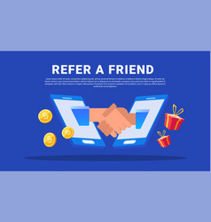 Refer a friend with business partners shaking vector