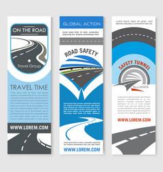 road banner set for travel and transport design vector image