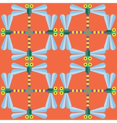 Seamless Dragonfly pattern Insect vector