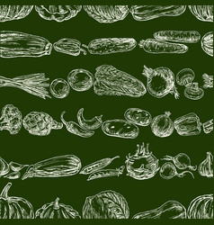 seamless pattern of various vegetables sketches vector image