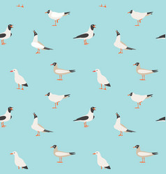 Seamless texture with flying seagulls vector