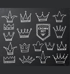 set of hand drawn cartoon crowns on black vector image