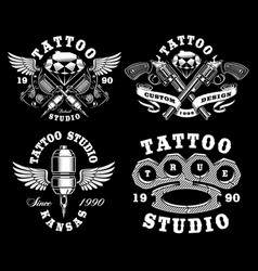 Set of monochrome tattoo emblems on dark vector