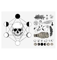 set of ritual things black contour vector image