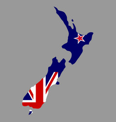 silhouette country borders map of new zealand on vector image