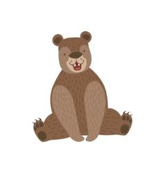 Sitting Brown Bear Smiling vector