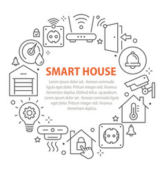smart home circle template icons set vector image