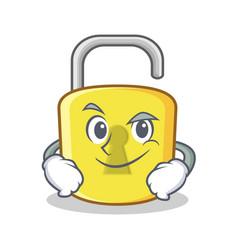 Smirking yellow lock character mascot vector