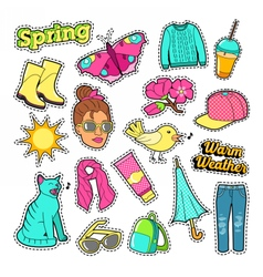 Spring Woman Fashion with Clothes and Accessories vector