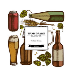 square design with colored rye hop mug beer vector image