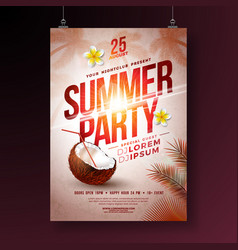 summer party flyer design with flower vector image