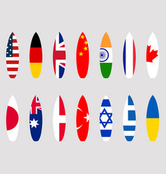 Surfboards with flags of the world set vector