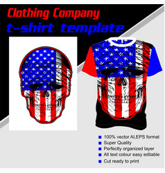 T-shirt template fully editable with skull flag vector