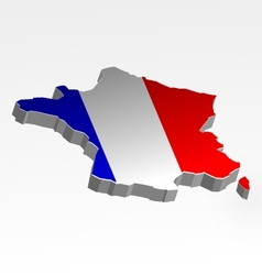 Three dimensional map france in flag colors vector