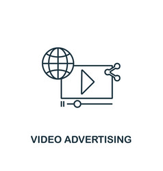video advertising icon thin line style symbol vector image