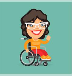 Wheelchair user woman vector