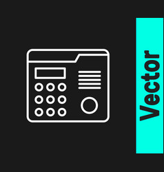 White line house intercom system icon isolated on vector
